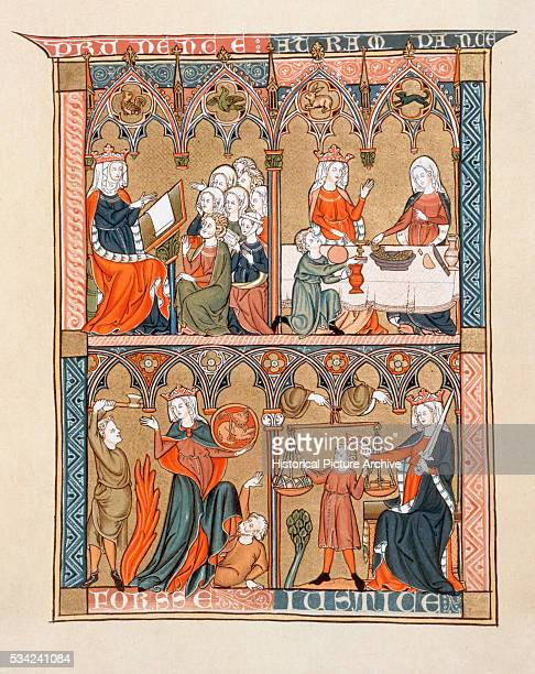 Illustration from Medieval Manuscript Depicting Four Cardinal Virtues by Dominican Friar Laurent