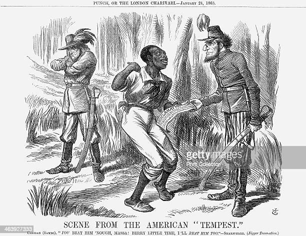 Illustation from Punch or the London Charivari which depicts a slave receiving a copy of the Proclamation from Lincoln and vowing to help beat the...