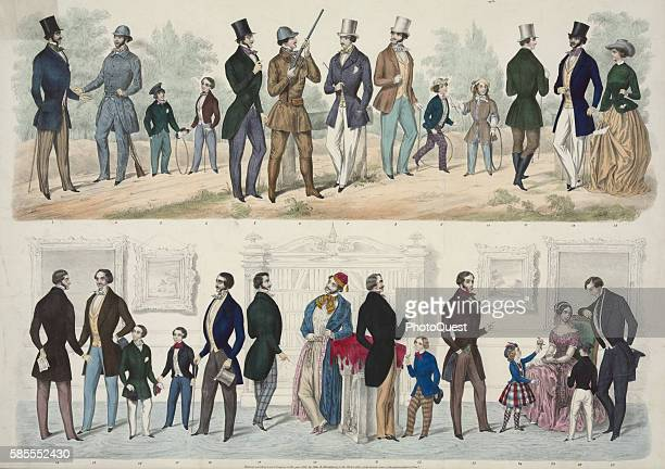 Illustration from Shankland's American Fashions depicts various styles for men women and children Philadelphia Pennsylvania 1849
