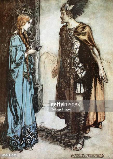 Illustration from Siegfried and the Twilight of the Gods 1924 Siegfried hands the drinking horn back to Gutrune and gazes at her with sudden passion...