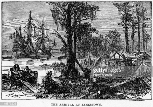 Illustration from the 1905 edition of 'Harper's Encyclopaedia of United States History volume V' depicts 'The Arrival At Jamestown' where colonists...