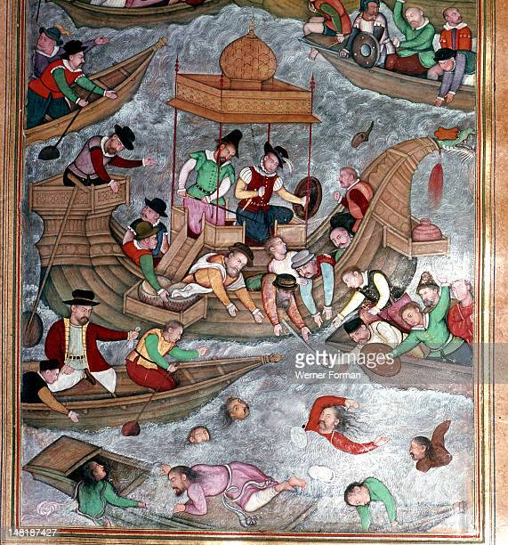 Illustration from the 'Akbar nama' , European mercenaries, probably Portuguese, are caught in a turbulent sea. India. Moghul. Late 16th century.