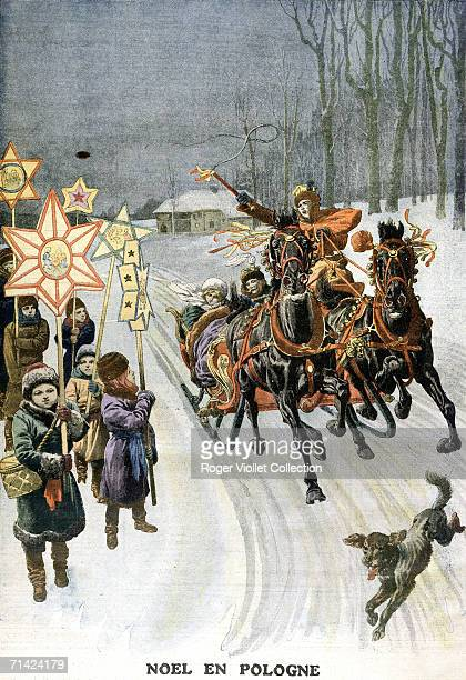 Illustration from the French children's magazine 'Le Petit Journal' shows a sleigh driver as he gestures with his whip at some children by the side...