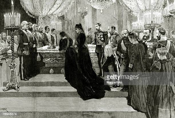 Illustration from the Illustrated London News from 1894 pic 1894 The funeral of Alexander III Czar of Russia showing from left The Czarina Princess...