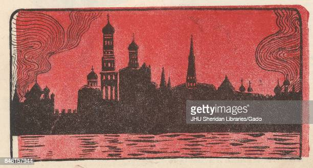 Illustration from the Russian satirical journal Krasnyi Smekh depicting the Moscow skyline specifically a silhouette of the Moscow Kremlin against a...