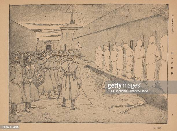 Illustration from the Russian satirical journal Maski depicting a row of prisoners tied to wooden posts and covered in white sheets about to be...