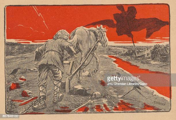 Illustration from the Russian satirical journal Miting depicting a man with a shackle around his left ankle plowing a field that has several skulls...