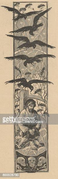 Illustration from the Russian satirical journal Ovod depicting a man sitting on the ground while shackled to a fence with five ravens flying over his...