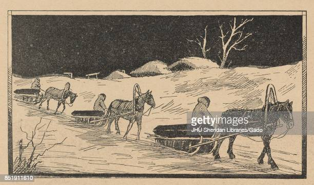 Illustration from the Russian satirical journal Ovod of three wooden horsedrawn sleds carrying a person and a log each being pulled along the snow at...