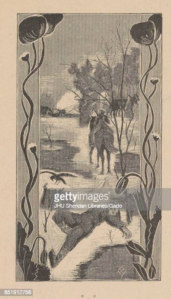 Illustration from the Russian satirical journal Ovod showing a dead villager lying on the melting snow with a soldier on a horse nearby and another...