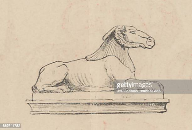 Illustration from the Russian satirical journal Skorpion depicting a statue of a lion's body with a ram's head 1906