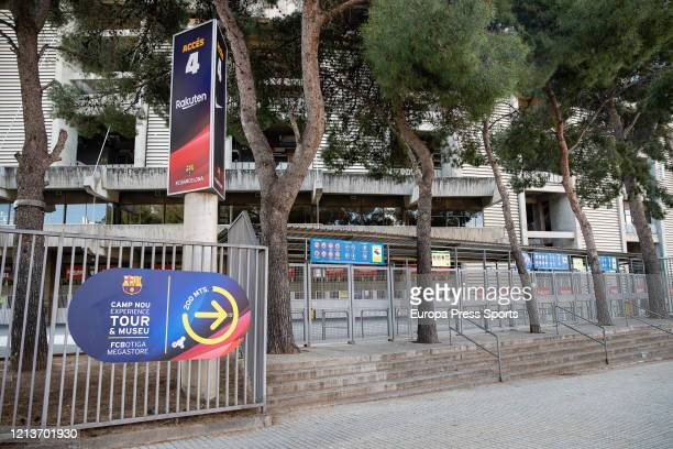 Illustration general view of the FC Barcelona Stadium Camp Nou closed during the fifth day after the Government declared the state of alarm in Spain...