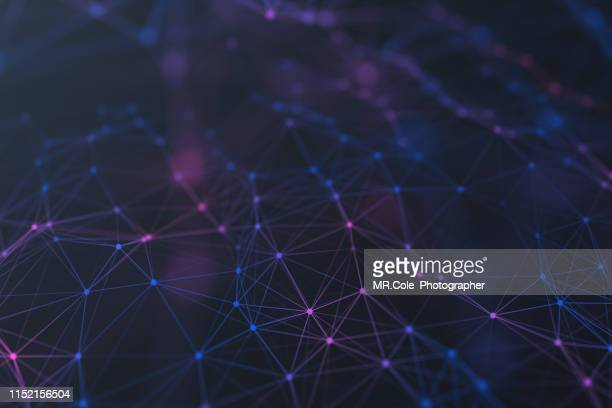 illustration geometric abstract background with connected line and dots,futuristic digital background for business science and technology - atomic imagery stockfoto's en -beelden