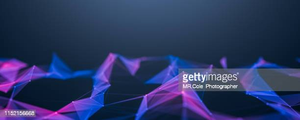 illustration geometric abstract background with connected line and dots,futuristic digital background for business science and technology,banner background with copy space - copy space - fotografias e filmes do acervo
