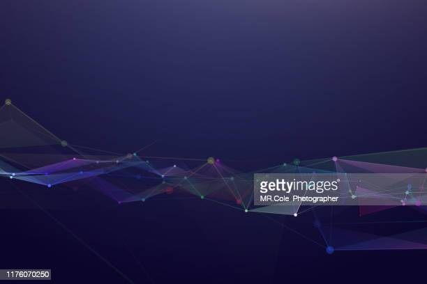 illustration geometric abstract background with connected line and dots,futuristic digital background for business science and technology - atomic imagery photos et images de collection