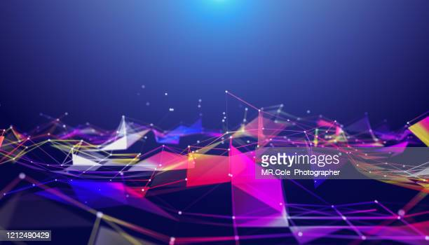 illustration geometric abstract background with connected line and dots,futuristic digital background for business science and technology - data stock pictures, royalty-free photos & images