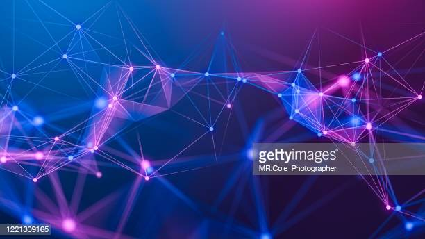 illustration geometric abstract background with connected line and dots,futuristic digital background for business science and technology - conexão imagens e fotografias de stock