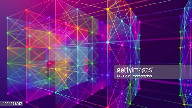 illustration geometric abstract background with connected line and dots,futuristic digital background for business science and technology - atomic imagery stock pictures, royalty-free photos & images