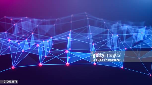 illustration geometric block shape  abstract background with connected line and dots,futuristic digital background for business science and technology - blockchain stock-fotos und bilder