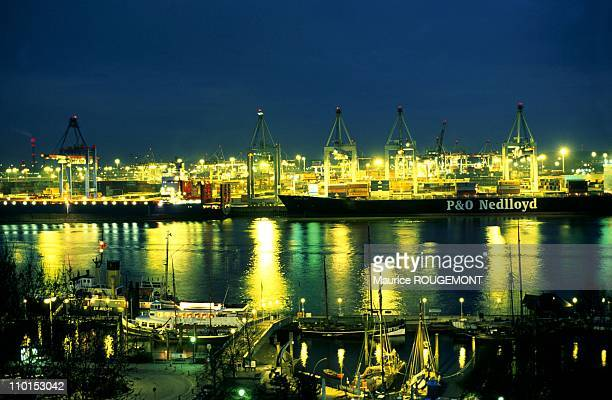 Illustration Hamburg Germany in 1999 The harbour on the Elbe