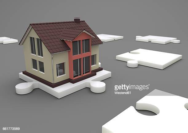 Illustration House on the white puzzle, 3d-Rendering