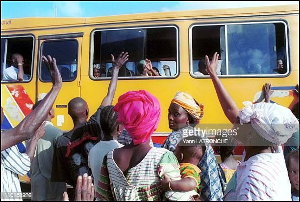 Illustration in Abidjan, Cote d'Ivoire on October 11, 2000 - Adjame Train Station - Sito Train Company, Morning departure to Ouagadougou, Burkinabi...