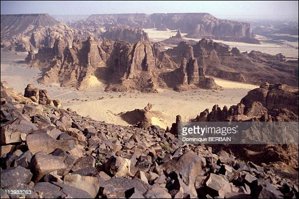 Illustration In Saudi Arabia On November 20 2001Landscape along the DamascusMedina line in Al Ula Fault in volcanic plateau