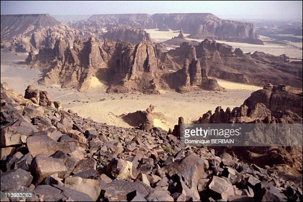 Illustration In Saudi Arabia On November 20 2001Landscape along the DamascusMedina line in Al Ula Fault in volcanic plateau