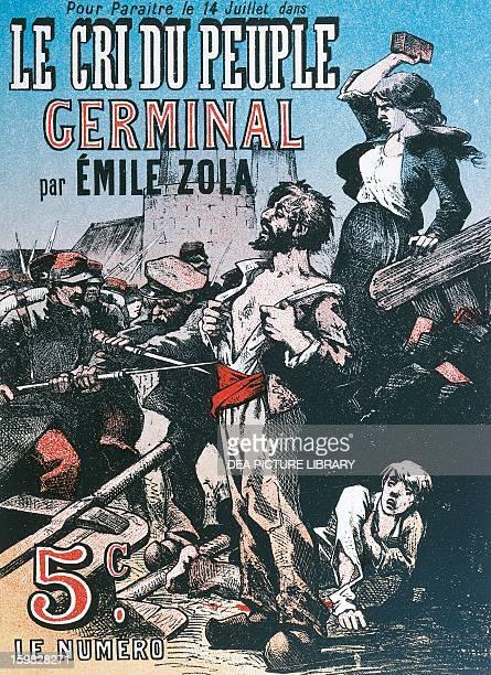 Illustration in the French magazine Le Crie du Peuple advertising the publication of Germinal by Emile Zola Paris Bibliothèque Des Arts Decoratifs
