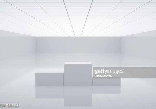 3d illustration indoor background - winners podium ストックフォトと画像
