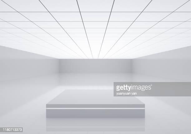 3d illustration indoor background - 白 空間 ストックフォトと画像