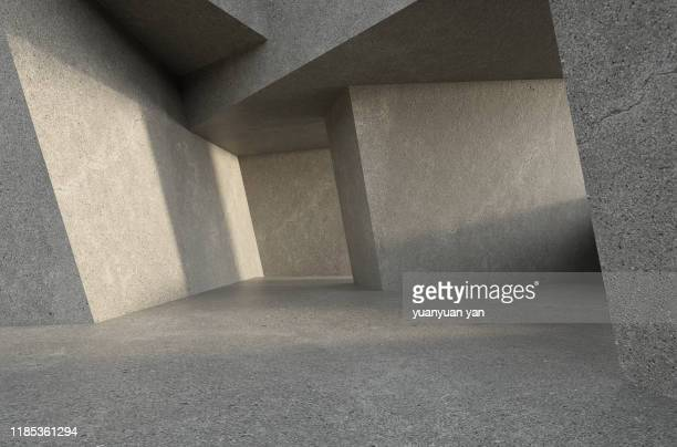 3d illustration interior design background - concrete stock pictures, royalty-free photos & images