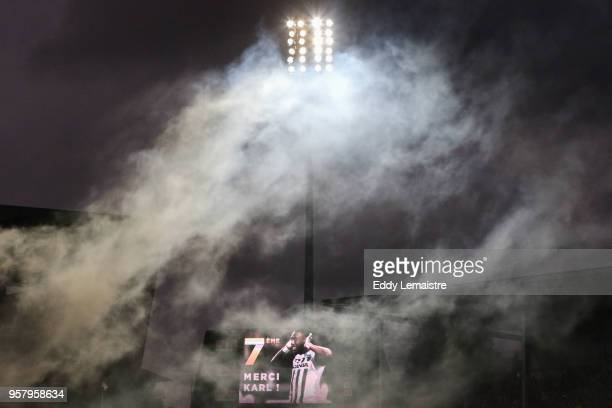 Illustration Karl Toko Ekambi of Angers on the screen of the stadium during the Ligue 1 match between Angers SCO and Nantes at Stade Raymond Kopa on...