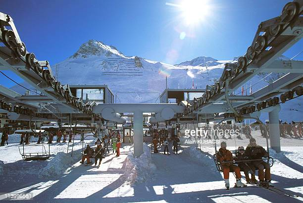 Illustration landscapes of mountains, summer and winter in Tignes, France in 1996-Skilift of Palafour.