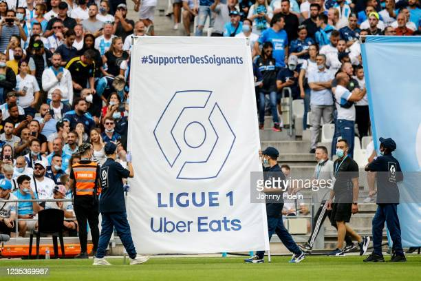 Illustration Logo Ligue 1 Uber Eats in support of health care personnel during the Ligue 1 Uber Eats match between Marseille and Rennes at Orange...