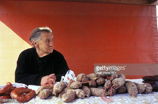 Illustration market and old port In Ajaccio France On March 29 1996