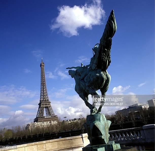 Illustration Monuments In Paris France In January 2003Eiffel Tower seen from Bir Hakeim bridge