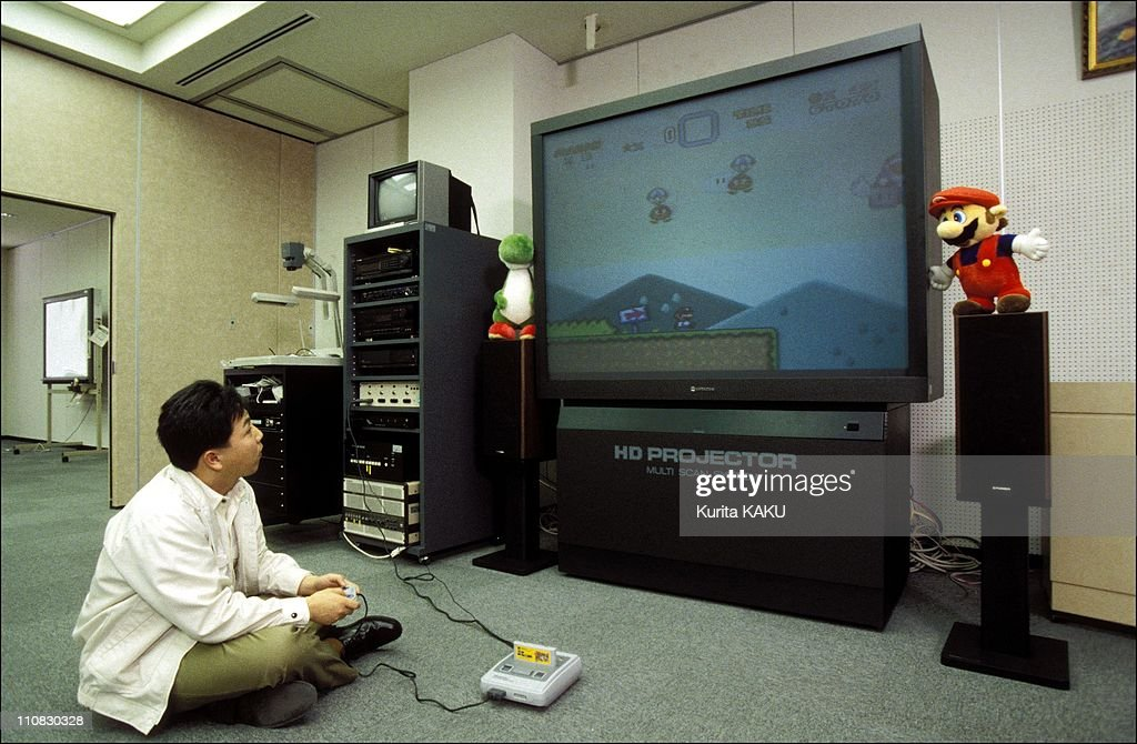 Nintendo Games In Japan In April, 1992 - Playing on big screen.