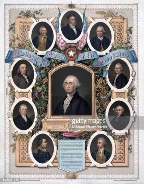 Illustration of 1800 titled 'Distinguished masons of the revolution' Includes Lafayette George Washington and Benjamin Franklin