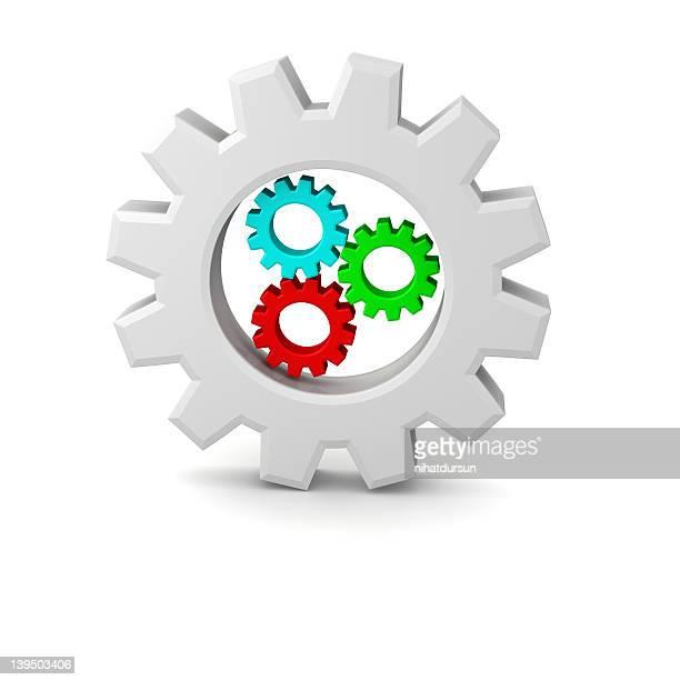 Illustration of 3d Wheel with three wheels inside