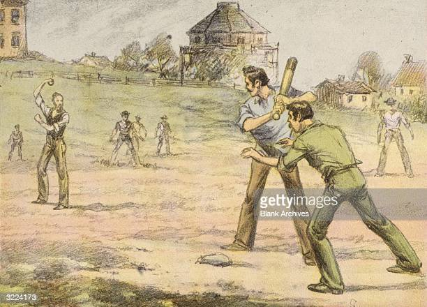 Illustration of a batter taking a pitch during a baseball game at Baylor University Texas The Baylor team was the first college team in the state and...