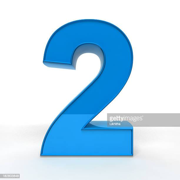 illustration of a blue number 2 in 3d - number 2 stock pictures, royalty-free photos & images