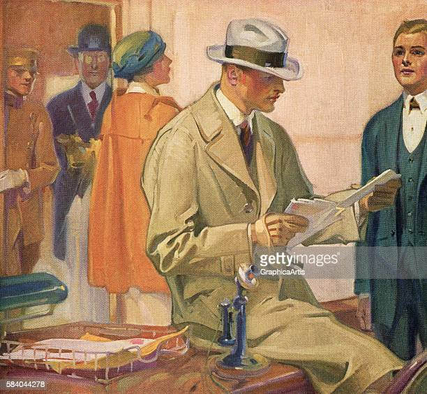 Illustration of a bussinessman in a trenchcoat reviewing his mail as he sits on a desk in a busy office 1922 Screen print