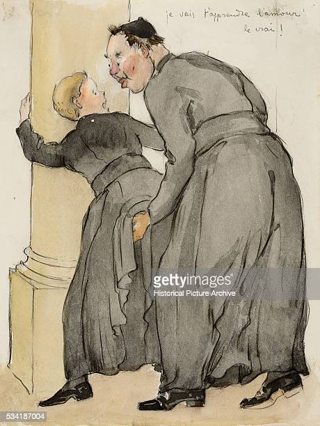 Illustration of a Catholic Priest Molesting an Acolyte by Delprinne