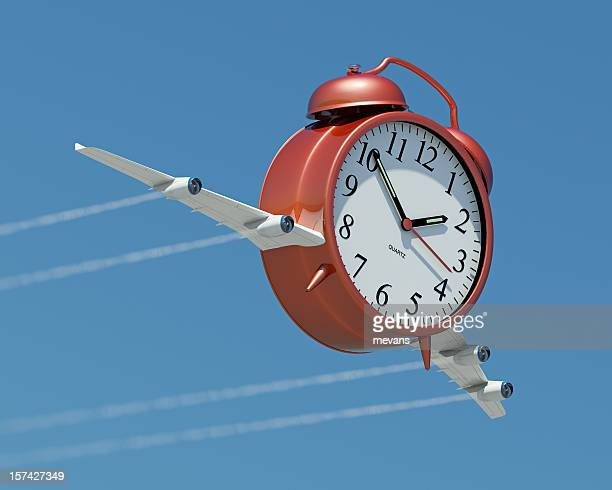illustration of a clock with airplane wings - time travel stock pictures, royalty-free photos & images