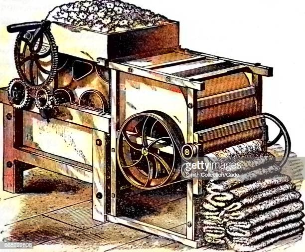 Illustration of a complex mechanical cotton gin with gears and levers processing cotton for use in textiles 1878 Note Image has been digitally...