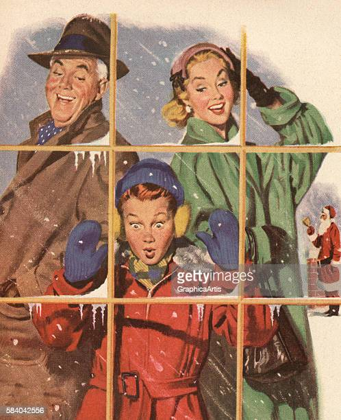 Illustration of a couple and their son enjoying looking at gifts in a store window on Christmas Eve 1952 Screen print
