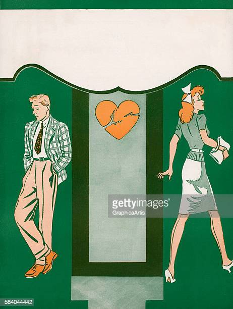 Illustration of a couple breaking up separated by a broken heart design 1944 Lithograph