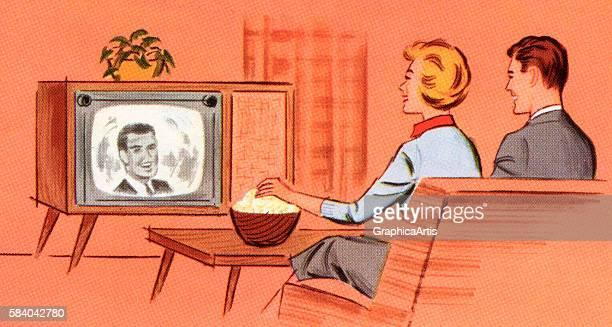 Illustration of a couple eating popcorn as they watch a retro television in the den of their home 1958 Screen print