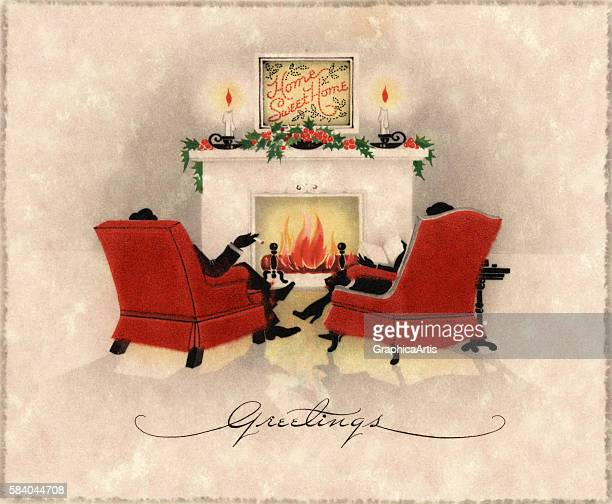 Illustration of a couple sitting in chairs in front of a roaring fireplace on Christmas Eve 1923 Lithograph